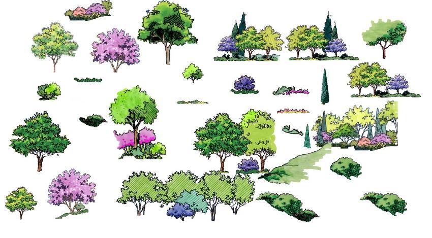 手绘平面立面景观素材