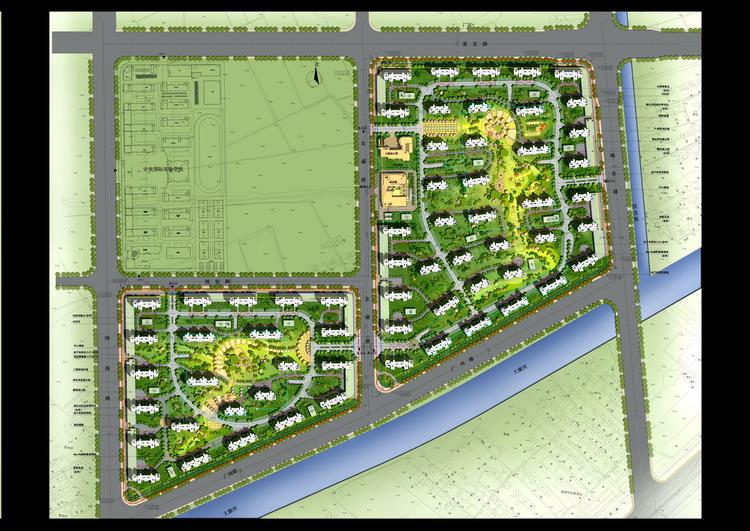 建筑设计素材网---园林景观彩色总平面素材
