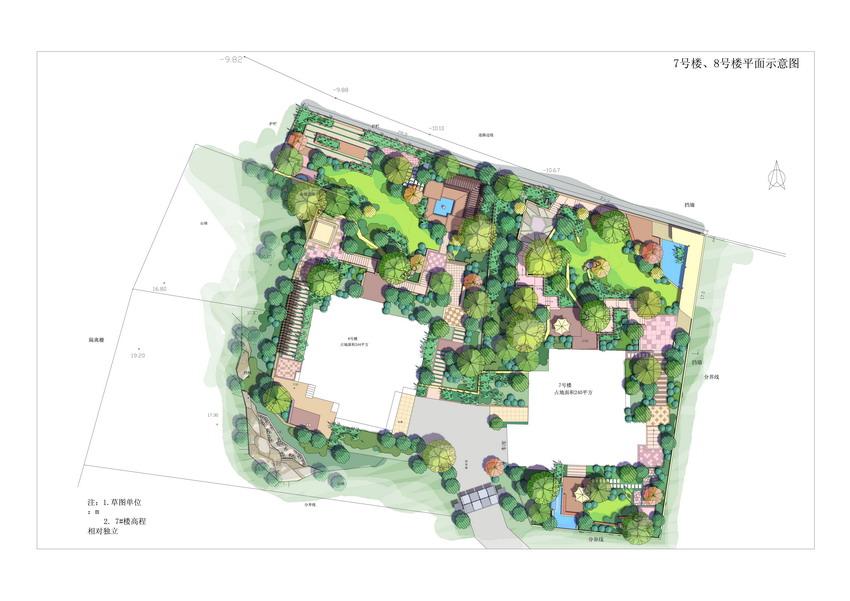 建筑设计素材网---水彩手绘风格-园林景观彩色总平面